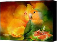 Parrot Canvas Prints - Love Among The Hibiscus Canvas Print by Carol Cavalaris