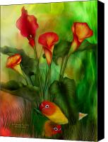 Tropical Bird Art Canvas Prints - Love Among The Lilies  Canvas Print by Carol Cavalaris
