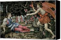 Fantasy Painting Canvas Prints - Love and the Maiden Canvas Print by John Roddam Spencer Stanhope