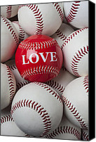 Ball Canvas Prints - Love baseball Canvas Print by Garry Gay