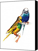 Anil Nene Canvas Prints - Love Birds Canvas Print by Anil Nene