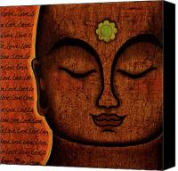 Tibetan Mixed Media Canvas Prints - Love Canvas Print by Gloria Rothrock