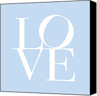 Words Canvas Prints - Love in Baby Blue Canvas Print by Michael Tompsett