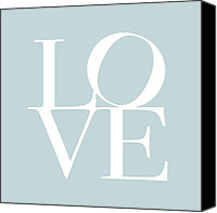 Words Canvas Prints - Love in Duck Egg Blue Canvas Print by Michael Tompsett