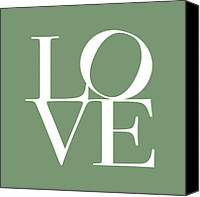 Words Canvas Prints - Love in Green Canvas Print by Michael Tompsett