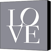 Words Canvas Prints - Love in Grey Canvas Print by Michael Tompsett