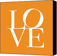 Words Canvas Prints - Love in Orange Canvas Print by Michael Tompsett