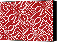 Love Hearts Canvas Prints - Love in Red Canvas Print by Michael Tompsett