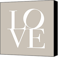 Love Hearts Canvas Prints - Love in Taupe Canvas Print by Michael Tompsett