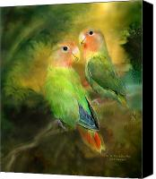 Animal Mixed Media Canvas Prints - Love In The Golden Mist Canvas Print by Carol Cavalaris