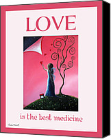 Fantasy Painting Canvas Prints - Love Is The Best Medicine by Shawna Erback Canvas Print by Shawna Erback