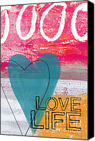 Abstract Heart Canvas Prints - Love Life Canvas Print by Linda Woods