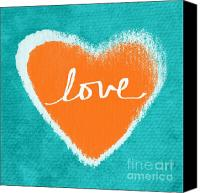 Aqua Canvas Prints - Love Canvas Print by Linda Woods