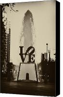 Love Park Canvas Prints - Love Love Love Canvas Print by Bill Cannon