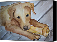 Cannine Canvas Prints - Love my Bone Canvas Print by Carol Grimes