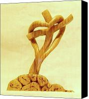 Woodcarving Sculpture Canvas Prints - Love on a Cross Canvas Print by Russell Ellingsworth