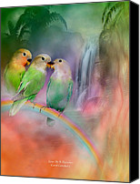Animal Art Print Mixed Media Canvas Prints - Love On A Rainbow Canvas Print by Carol Cavalaris