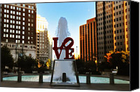 Philadelphia Canvas Prints - Love Park - Love Conquers All Canvas Print by Bill Cannon