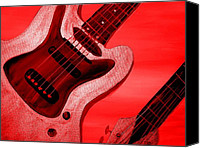 New York Music Canvas Prints - Love Red Electric Guitar  Canvas Print by Mark Moore
