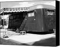 Camper Canvas Prints - LOVE SHACK BW Palm Springs Canvas Print by William Dey