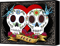 Tattoo Canvas Prints - Love Skulls II Canvas Print by Tammy Wetzel
