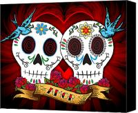 Dia De Los Muertos Canvas Prints - Love Skulls Canvas Print by Tammy Wetzel