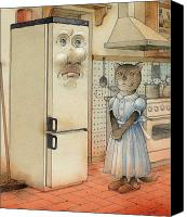 Kitchen Drawings Canvas Prints - Love Story Canvas Print by Kestutis Kasparavicius