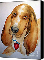 Cannine Canvas Prints - Love that Bassett Canvas Print by Carol Grimes