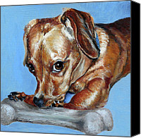 Pet Portrait Canvas Prints - Love Them Bones Canvas Print by Enzie Shahmiri