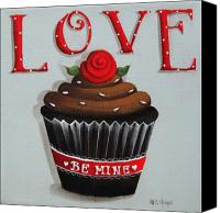 Red Rose Canvas Prints - Love Valentine Cupcake Canvas Print by Catherine Holman