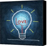 Training Canvas Prints - Love Word In Light Bulb Canvas Print by Setsiri Silapasuwanchai