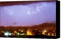Loveland Canvas Prints - Loveland Colorado Front Range Foothills  Lightning Thunderstorm Canvas Print by James Bo Insogna