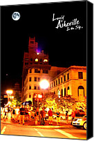 First Lady Digital Art Canvas Prints - Lovely Asheville Night Downtown Canvas Print by Ray Mapp