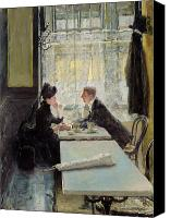 Discussion Canvas Prints - Lovers in a Cafe Canvas Print by Gotthardt Johann Kuehl