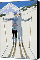 Slopes Painting Canvas Prints - Lovers in the Snow Canvas Print by Georges Barbier