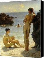 Athletic Canvas Prints - Lovers of the Sun Canvas Print by Henry Scott Tuke