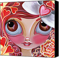 Teen Painting Canvas Prints - Lovey Dovey Canvas Print by Jaz Higgins