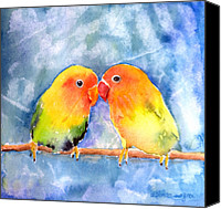 Parrots Canvas Prints - Lovey Dovey Lovebirds Canvas Print by Arline Wagner