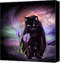 The Art Of Carol Cavalaris Mixed Media Canvas Prints - Loving My Kitty Canvas Print by Carol Cavalaris