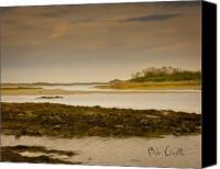 Moody Canvas Prints - Low Tide Cape Porpoise Maine Canvas Print by Bob Orsillo
