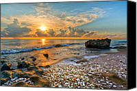 Tropical Sunset Canvas Prints - Low Tide Canvas Print by Debra and Dave Vanderlaan