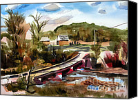 Rural Scenes Mixed Media Canvas Prints - Low Water Bridge II Canvas Print by Kip DeVore