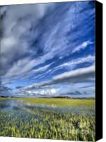 Tide Canvas Prints - Lowcountry Flood Tide and Clouds Canvas Print by Dustin K Ryan