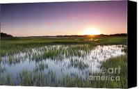 Tide Canvas Prints - Lowcountry Flood Tide Sunset Canvas Print by Dustin K Ryan