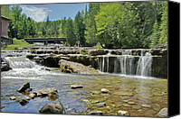 Michigan Waterfalls Canvas Prints - lower Au Train Canvas Print by Michael Peychich