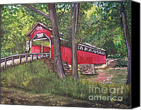 Summer Scenes Canvas Prints - Lower Humbert Covered Bridge  Canvas Print by Reb Frost