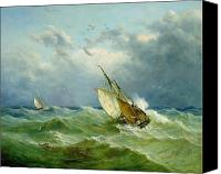 Scenes Painting Canvas Prints - Lowestoft Trawler in Rough Weather Canvas Print by John Moore