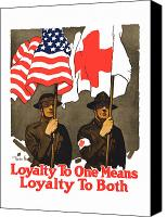 Flag Canvas Prints - Loyalty To One Means Loyalty To Both Canvas Print by War Is Hell Store