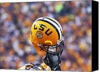 Team Canvas Prints - LSU Helmet Raised High Canvas Print by Louisiana State University