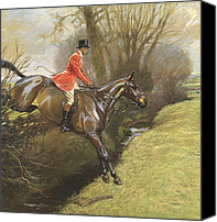 Hedge Canvas Prints - Lt Col Ted Lyon Jumping a Hedge Canvas Print by Cecil Charles Windsor Aldin